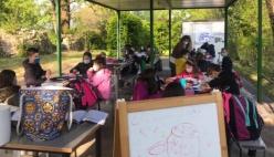 San Secondo. Aule all'aperto nel giardino della Rocca dei Rossi per i bimbi delle elementari